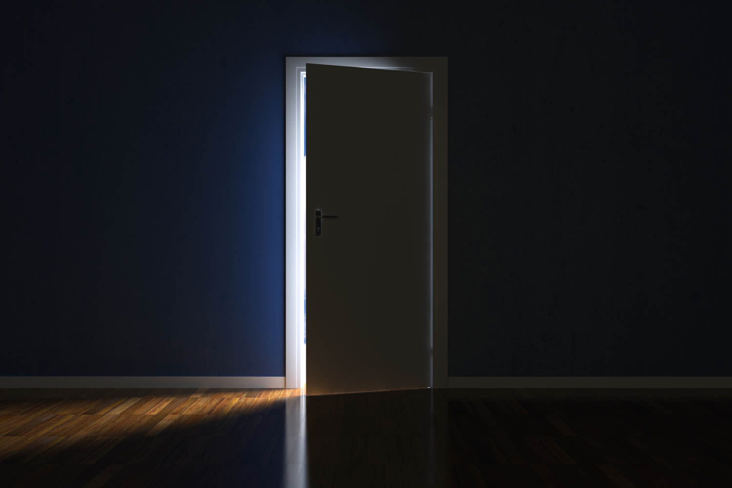 image of a slightly open door with light creeping in