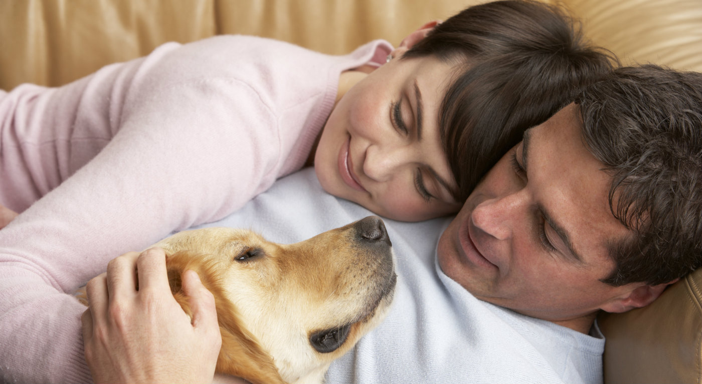 couple and dog cuddling