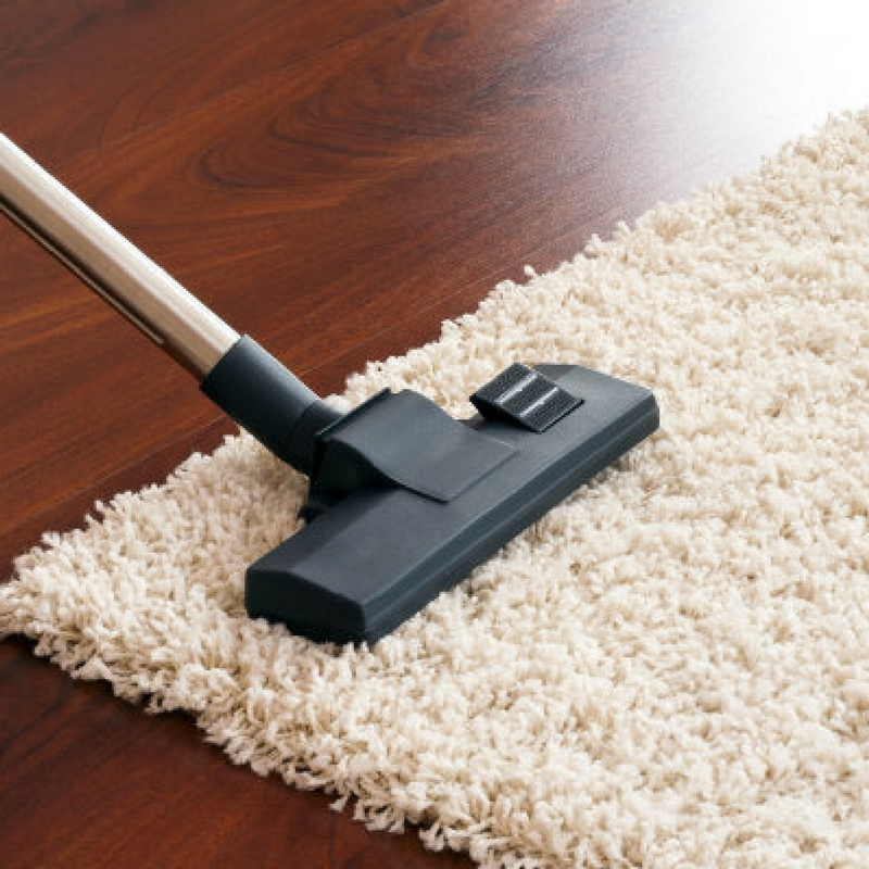 vacuuming a shaggy rug