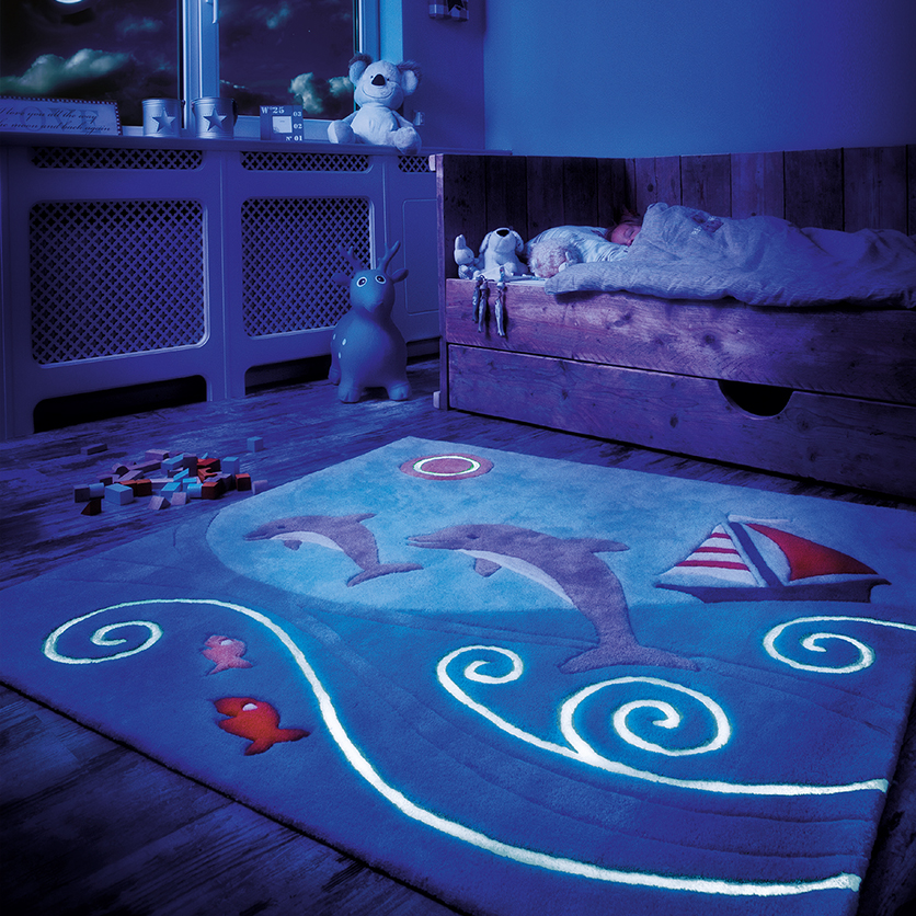 Childrens Glowy Rugs 3097 52 Dolphin kids rug