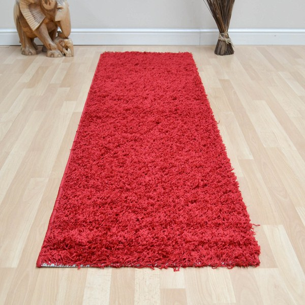Shaggy red carpet rug
