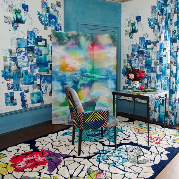 Interior Design Ideas 2016 Christian Lacroix room filled with unconventional decorations Eclats de Roses Nacre Rugs by Christian Lacroix