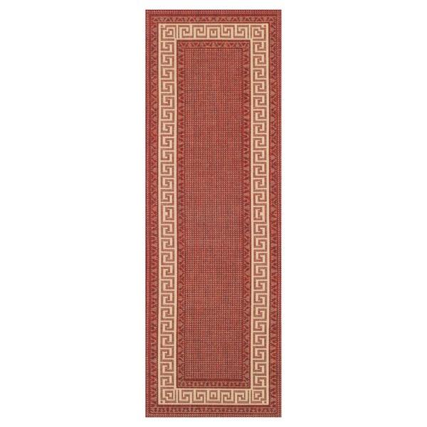 Red carpet Greek key flatweave anti slip hallway runners in red