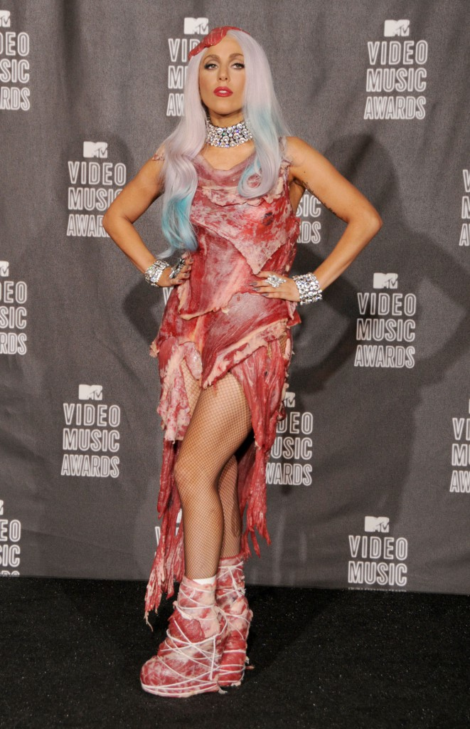 Lady gaga on the red carpet wearing a meat themed dress