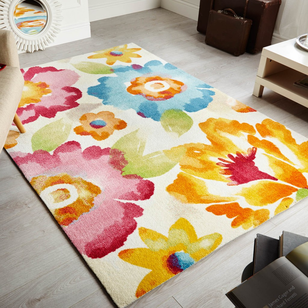 Painterly bright floral rug in a living room, a mother's day gift