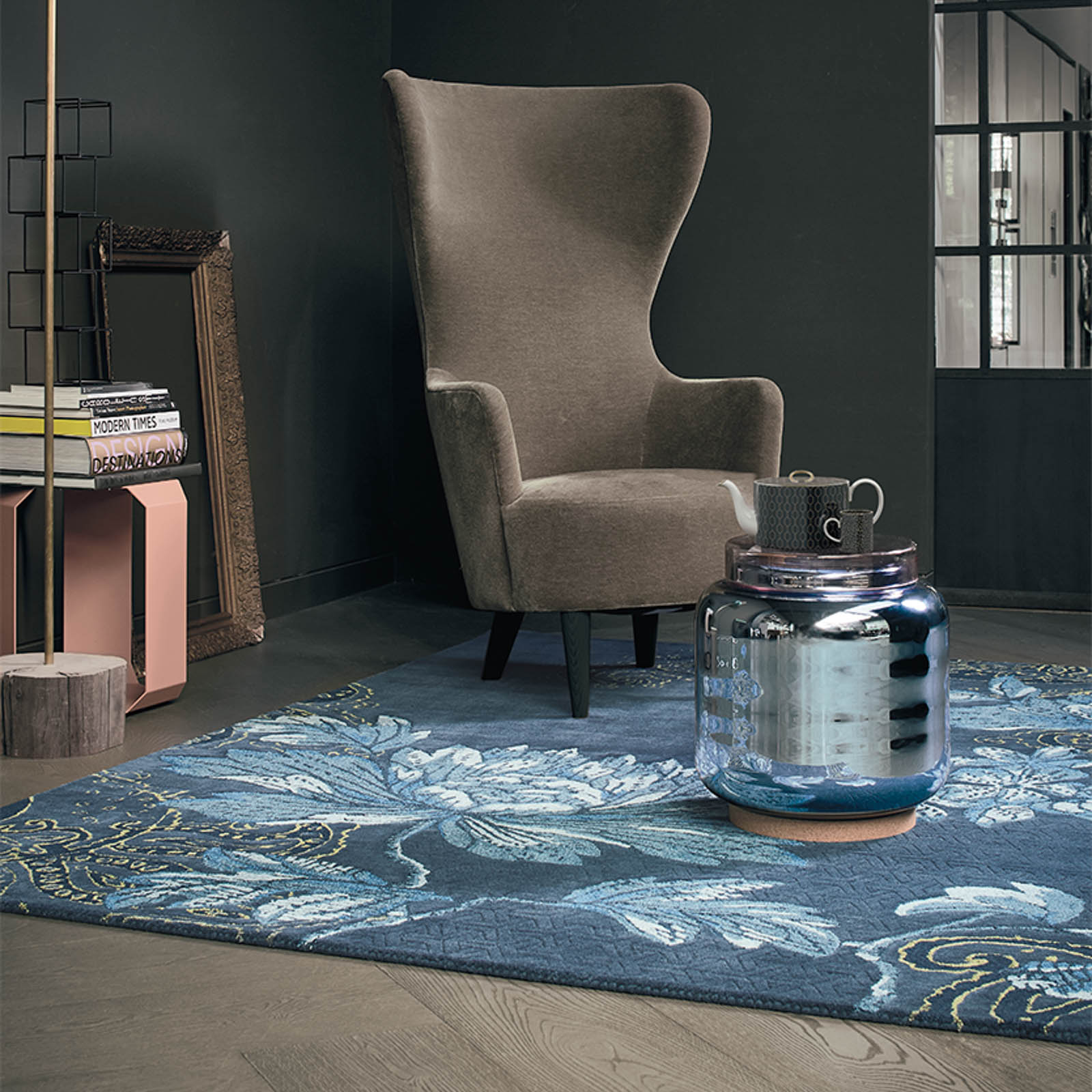 Mother's day gift, a floral rug inside a living roomMother's Day gift of a Fable Floral Rugs 37508 by Wedgwood