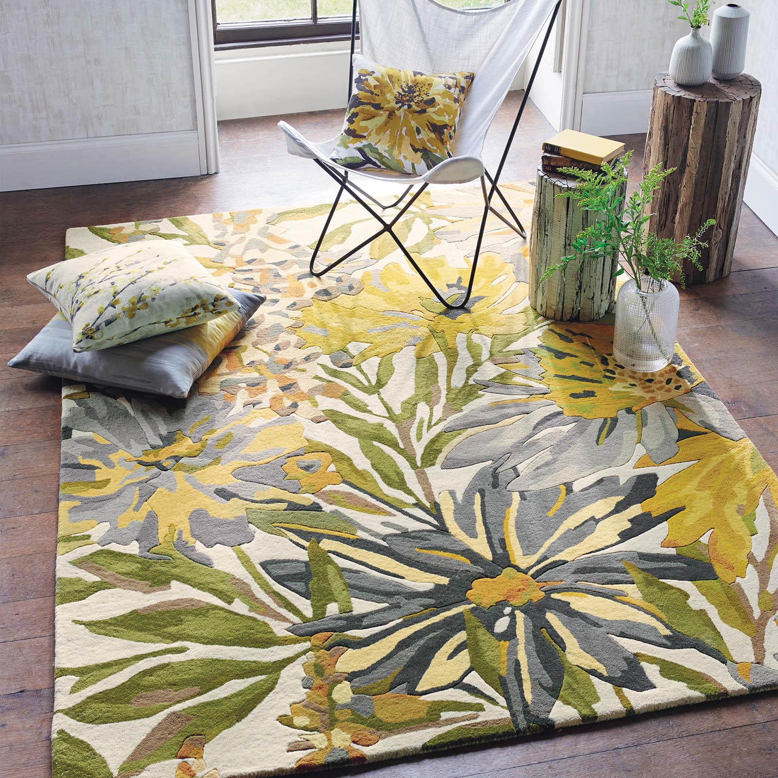 Mother's day gift, Floreale Rugs 44906 in Maize by Harlequin