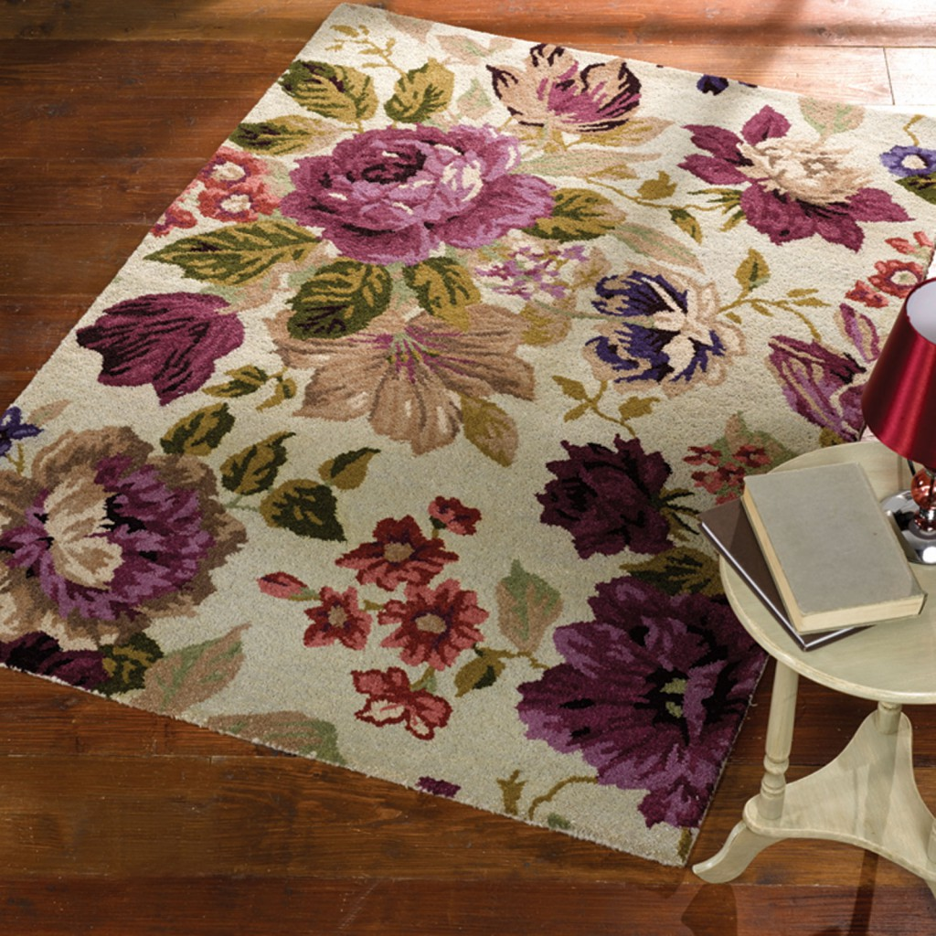 A purple rose floral rug against a beige background, mother's day gift