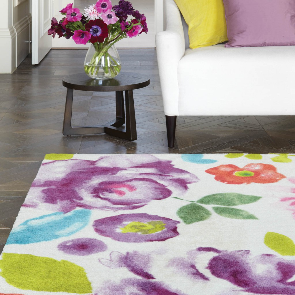 Mother's day gift, a floral rug inside a living room