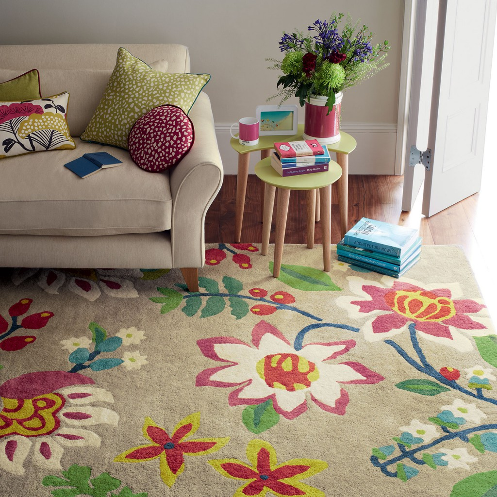 A cartoon floral rug in a living room, a mother's day gift