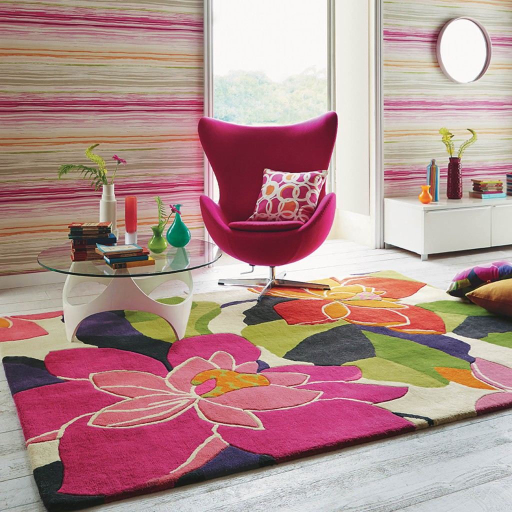 Diva Rugs 26302 in Peony by Scion for the RHS Chelsea Flower Show pink floral room