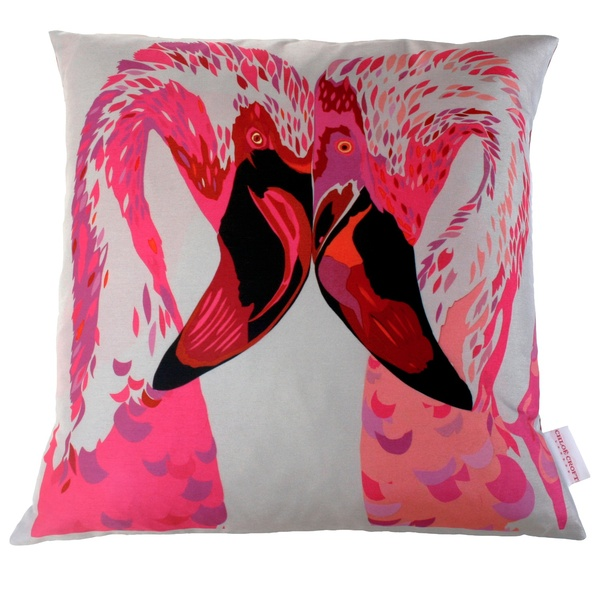 CHLOE CROFT MAGENTA FLAMINGOS CUSHION (L)