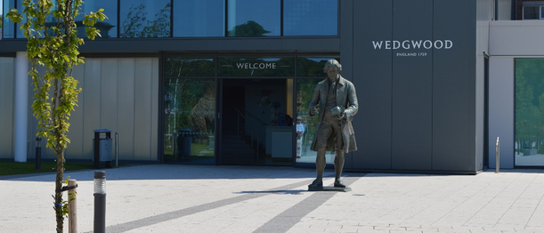 Josiah Wedgwood statue outside the world of wedgwood museum