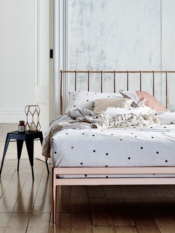 white rustic bedroom with modern copper bed frame for copper interiors