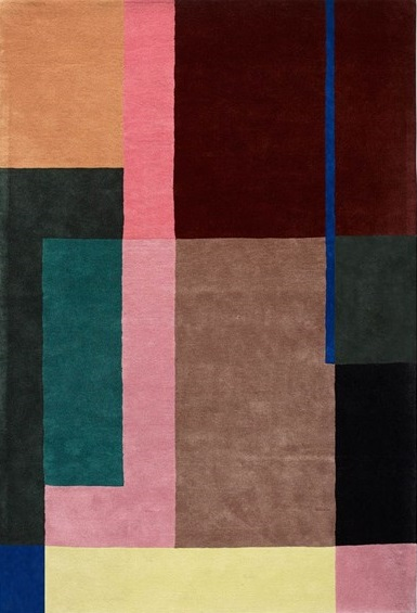 A cut out of the Massimo Selma rug with an art deco design in various colours