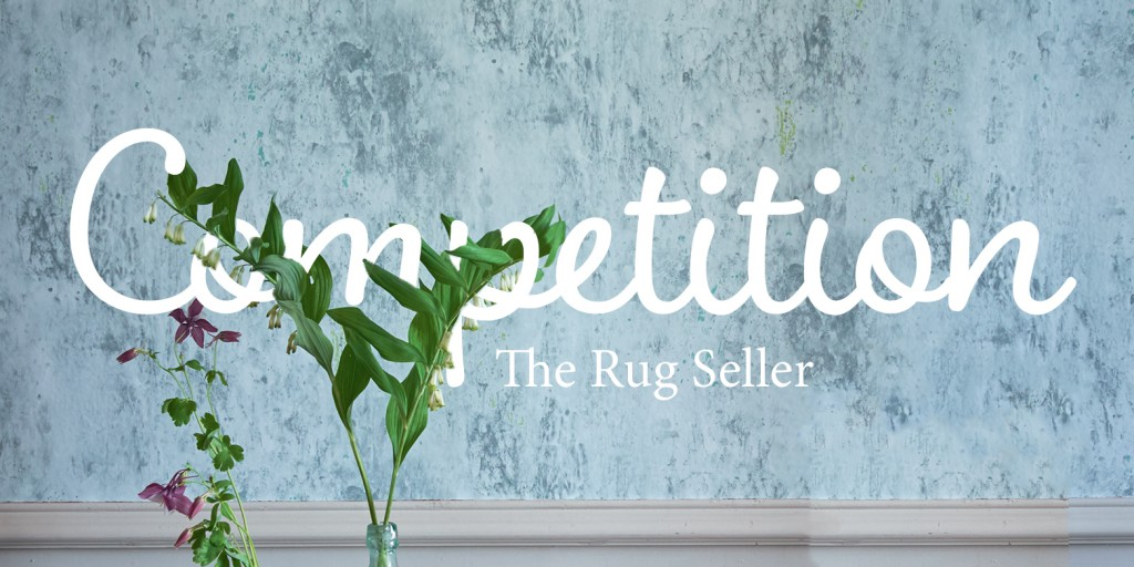 Dazzle Rug competition banner containing a blue wall with text overlapping a plant and the rug seller in text