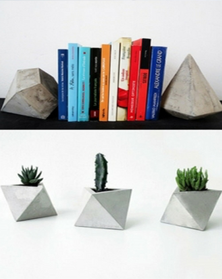 multifunctional concrete planters and book shelve holders