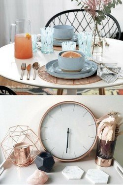 collage of copper clock and copper place mats for copper interiors