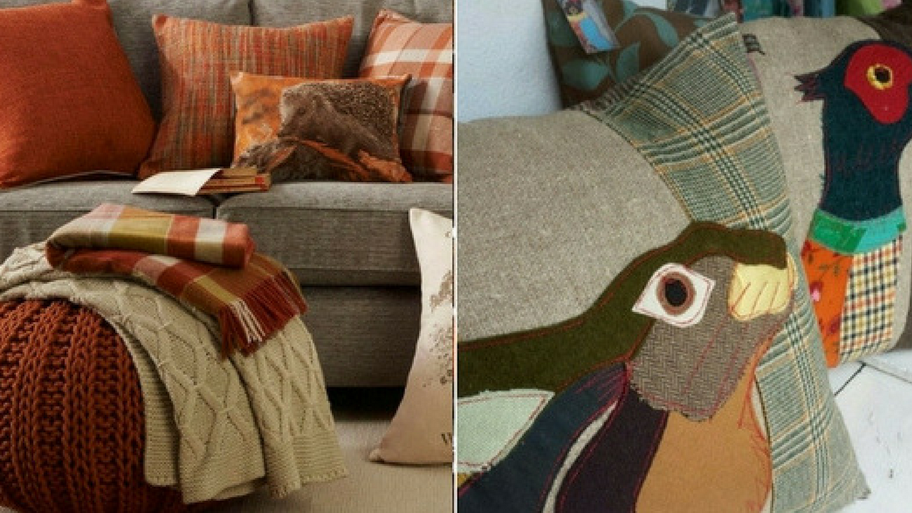 autumn decorations autumnal cushions collage of woodland animals such as hare and pheasants and orange wooly cushions on a brown sofa