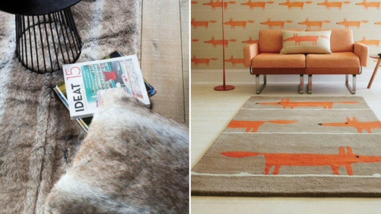 autumn decorations rug collage with a faux brown fur rug with magazines and a chair places on top and an orange fox print rug in a fox themed room