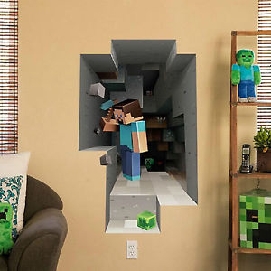 The Ultimate 3D Effect Wall Decal For A Minecraft Themed Kids Room
