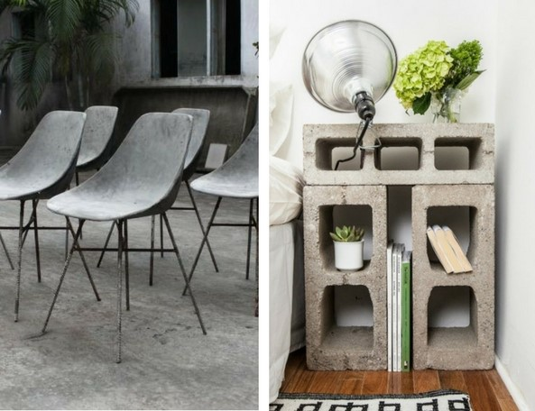 concrete furnitrue concrete chairs against a concrete flooring and concrete brick table in a bedroom