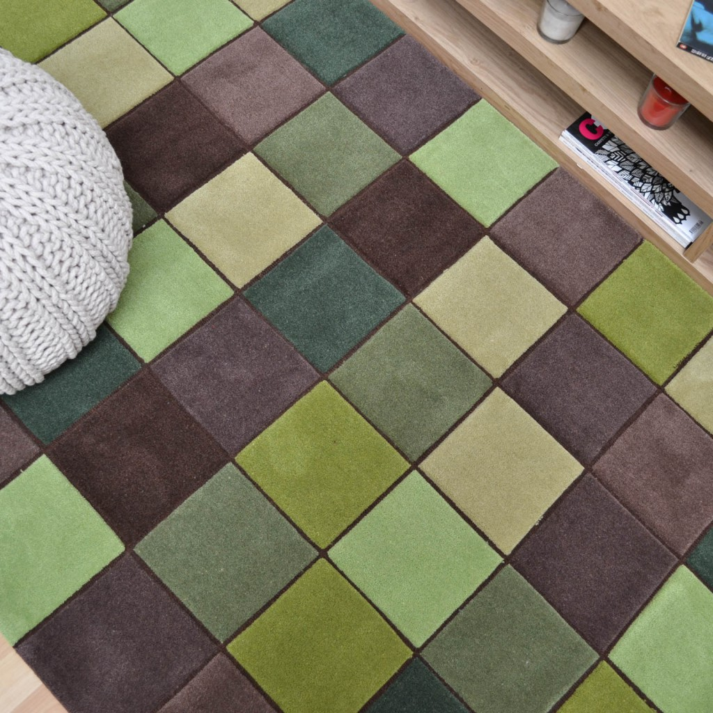 Eden Rugs in Green and Brown squares with pixel designs for a Minecraft themed kids room