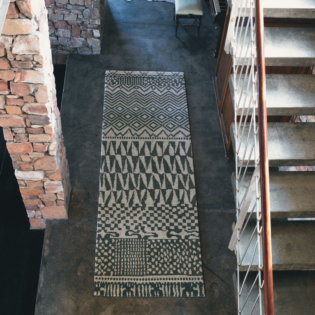 a hand knotted best hallway runners with contrasting grey patterns