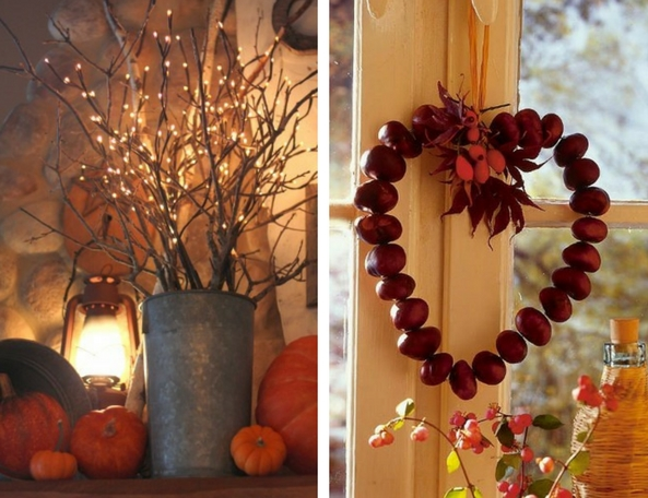 autumn decorations collage of conkers in a heart shape tied to a window and  a vase