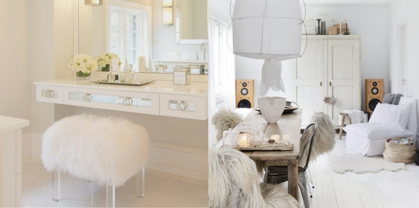 style faux fur collage with a white faux fur stool in front of a dressing table and a living room with white wooden floors and fur throws