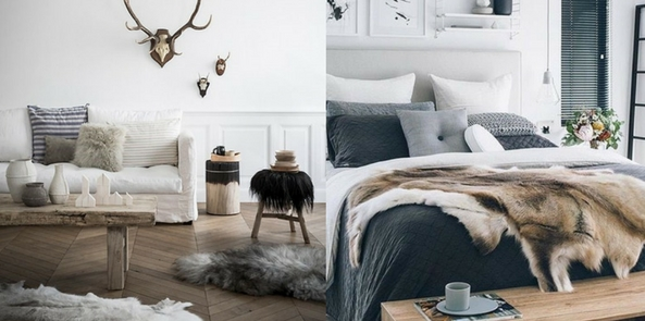 style faux fur with Scandinavian style room collage with wooden floors and fur throws and rugs