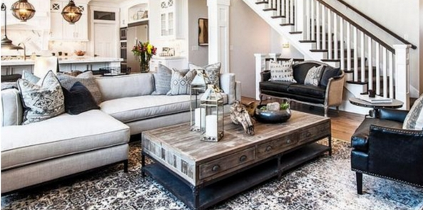 living room rug as seperating an open plan kitchen/living room in greys and whites