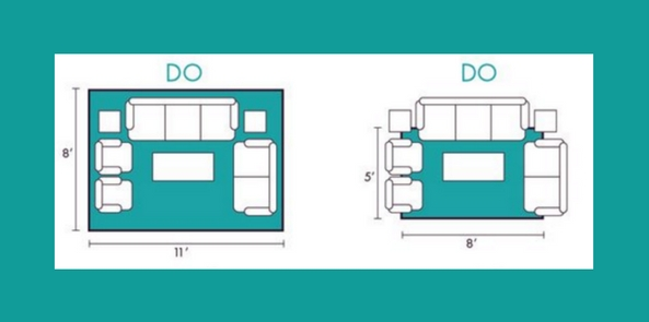best rugs for living rooms diagram showing the correct ways to place a rug in blue and white