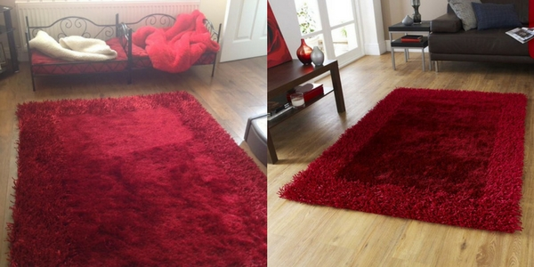 latest october releases of a collage of a red shaggy rug in a magazine shot and in someone's home