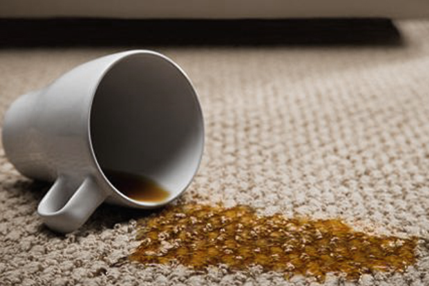 coffee cup spillage on a rug