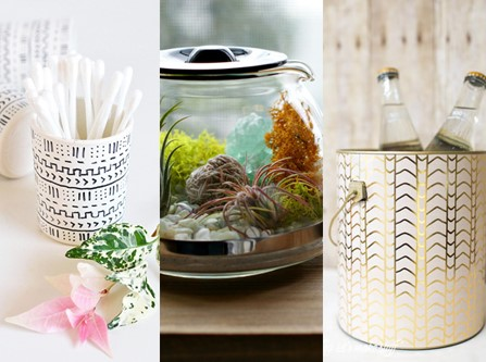 Upcycle collage of creative tins and kettle aquarium