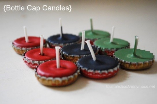 Upcycle bottle cap tea lights