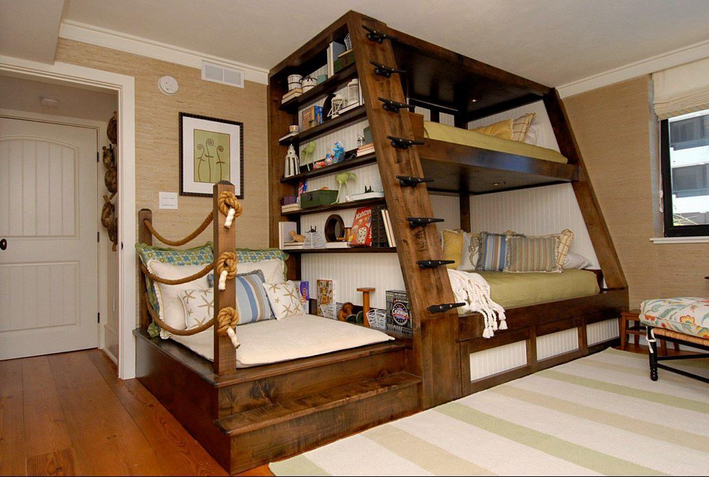 Creative Kids Bedroom Rustic BunkBed Setup