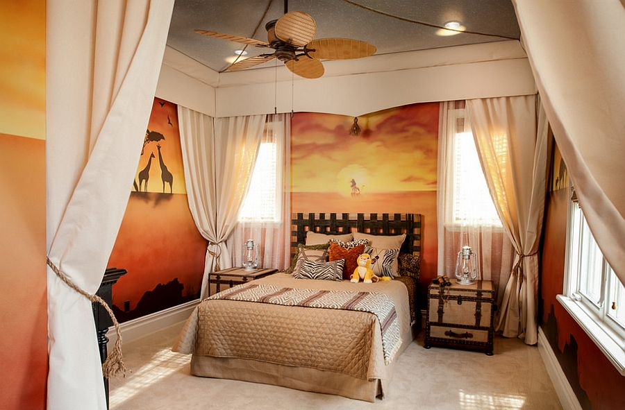 Creative Kids Bedroom ideas Disneys Lion King Safari Inspired Unisex Room