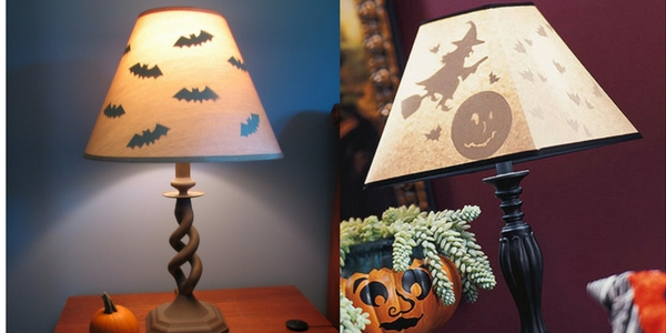 diy halloween decorations of bat and witch silouhettes inside lampshades on tablesides