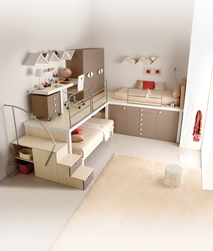 Creative Kids Bedroom Organised Brown Small