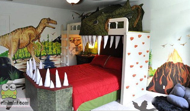 30 creative kids bedroom ideas that you 39 ll love the rug for Dinosaur themed kids room