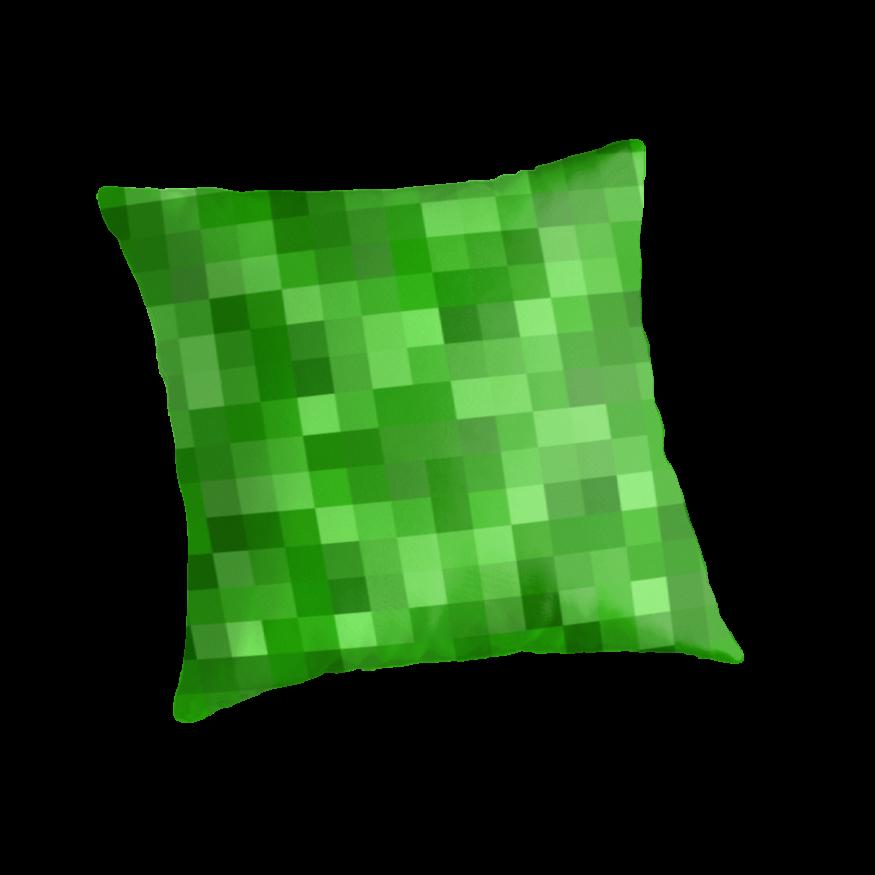 minecraft themed kids room green pixel pillow