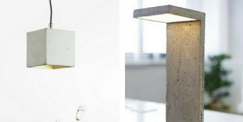 concrete furniture a concrete ceiling lamp and a concrete table lamp