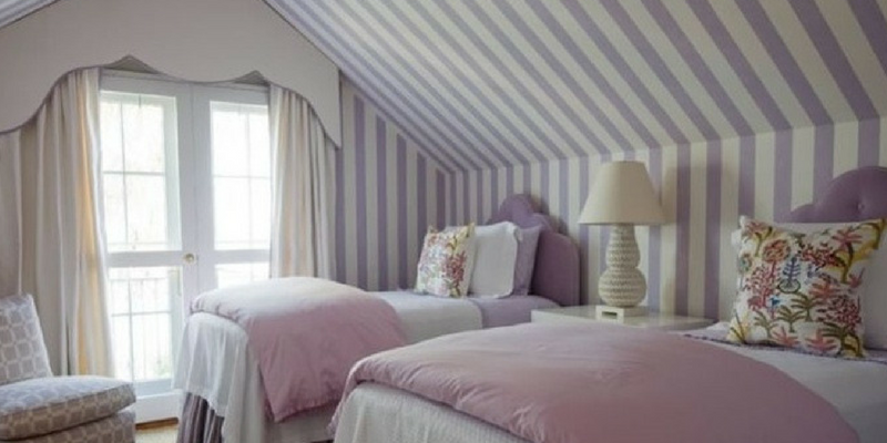stripes trend a purple coloured striped bedroom