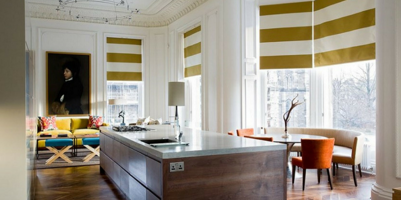 stripes trend yellow and white blinds in a large kitchen and dining room area