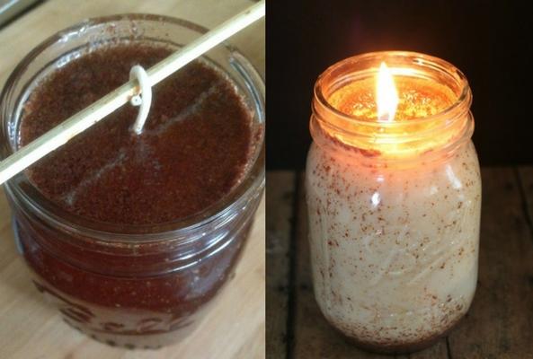 homemade cinnamon candle collage to help a room smell like christmas