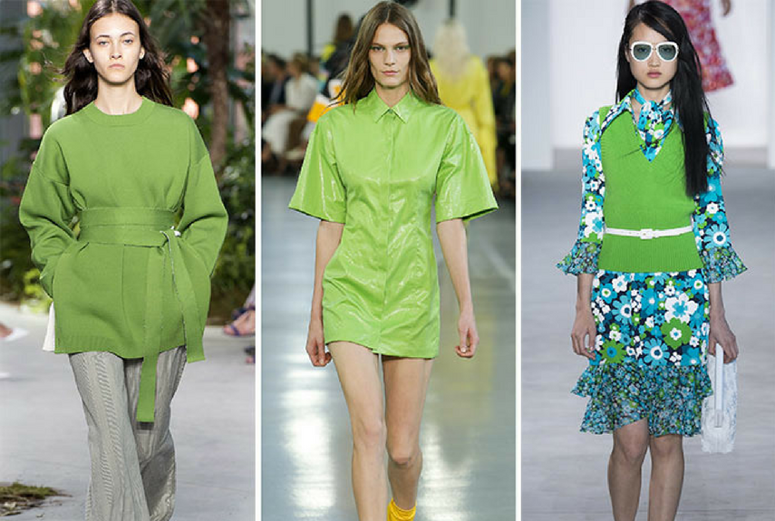 Green colour trend fashion clothing on a runway