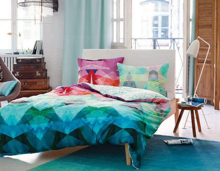 playful interiors blue and green coloured bedroom