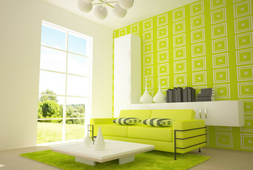Green colour trend feature wall in a spacious living room